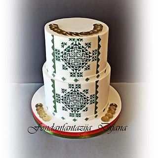 Zmijanjski vez ( folklor themed cake) - Cake by Fondantfantasy