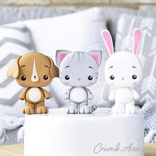 Cat, Bunny & Dog Cake Toppers - Cake by Crumb Avenue