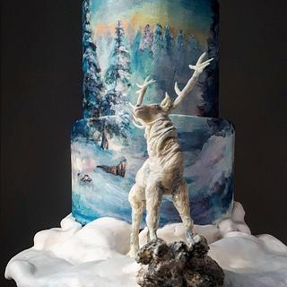 Painted Christmas cake