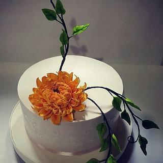 Torta con Dalia en azúcar
