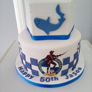 50th birthday cake for fan of football and cricket
