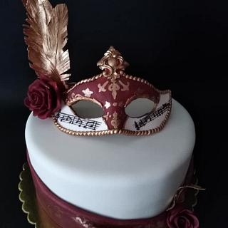 Cake with carnival mask