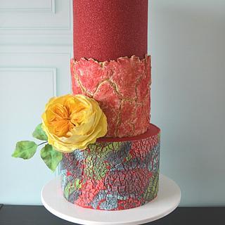 Textured birthday cake