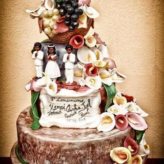comunion cake. triplets