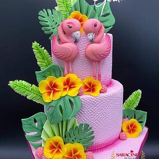 Flamingo Love cake - Cake by Cake Garden