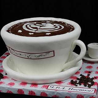 Cake a large cup of coffee