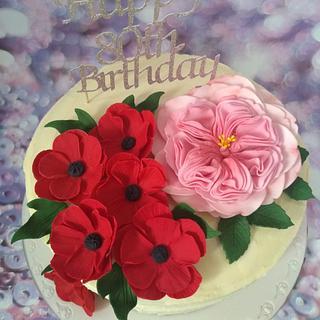 Buttercream and flower cake.