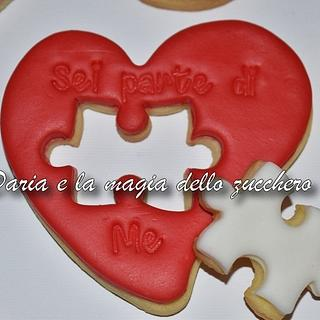 Valentine puzzle cookie