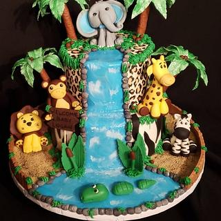 Jungle Themed Cake   - Cake by Creative Designs By Cass