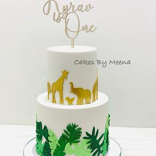 Safari Animal themed birthday cake