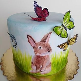 Hand painted bunny cake