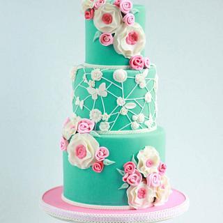 Turquoise blue and pink simple elegant girly cake - Sweet Avenue Cakery