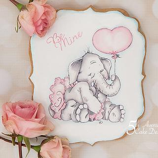 Ella Elephant, I Love You Tons Cookie Art Lesson 💝🐘❣️