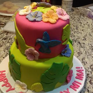 Hummingbird and Hibiscus Cake