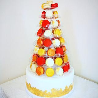 Cake and Macaron Tower Wedding Cake x 3 - Cake by Amy's Icing on the Cake