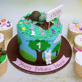 Tortoise n Rabbit theme customised cake n cupcakes for girls 1st birthday