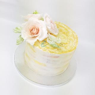 Simple cake with sugar roses