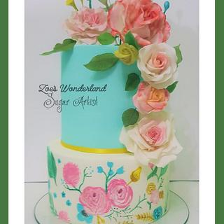 Floral cake Free hand drawing
