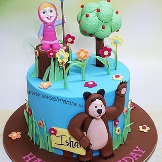 Masha and Bear theme customised cake for girl's birthday