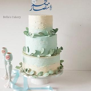 Dusty blue wedding cake.