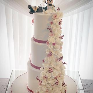 Drunk Mickey & Minnie wedding cake  - Cake by Maria-Louise Cakes