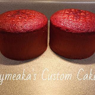 Tall Red Velvet Cakes
