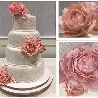 Pink Peonies, Pearls and Lace Wedding Cake - Cake by Margaret Lloyd