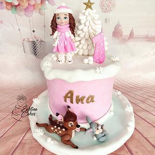 Little girl on snow - Cake by Zaklina