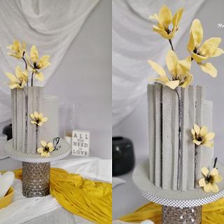 Grey and yellow - Cake by MOLI Cakes