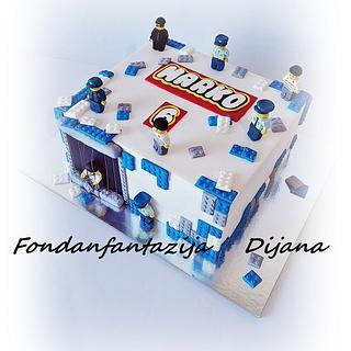 Lego police themed cake