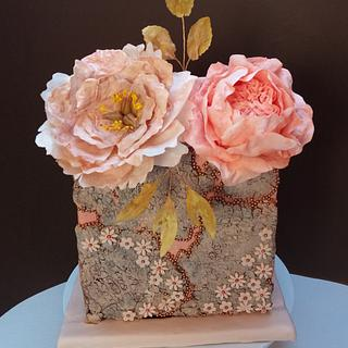 Wafer paper peony and English rose cake