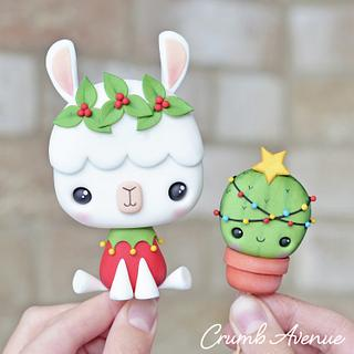 Christmas Llama and Cactus