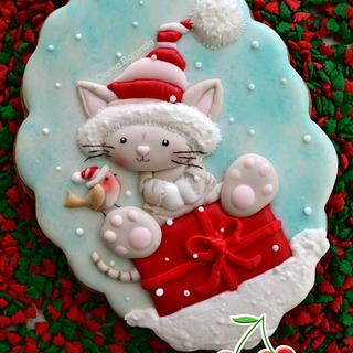 Christmas Cat Cookie