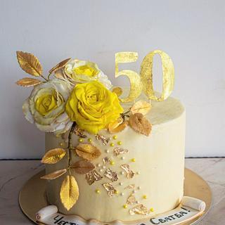 Golden wedding cake - Cake by TortIva