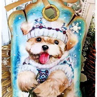 Christmas cookies/puppy skier - Cake by Galya's Art