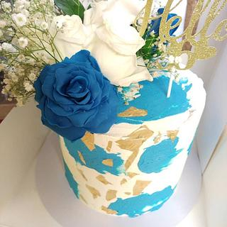 Blue and white birthday cake - Cake by Cups'& Cakery Design