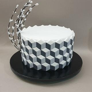 Optical illusion cake with 3D cubes