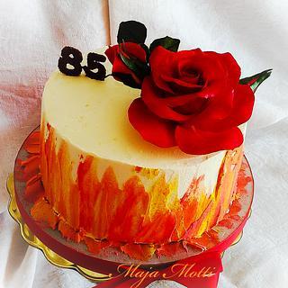 Cream cake with sugar Rose