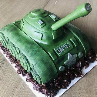 WWII Tank Birthday Cake