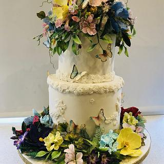 Sugar Flowers in full bloom - Cake by Jollyjilly