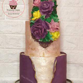 Palette sculpted knife ganache flowers - Cake by Doaa Mokhtar