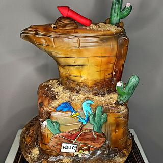 Coyote and roadrunner handpainted Cake