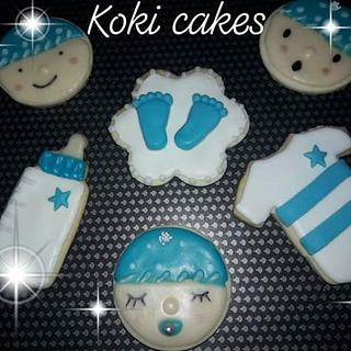 Baby boy shower cookies