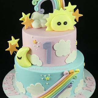 Pastel Rainbow Birthday Cake - Cake by Cakes by Vivienne