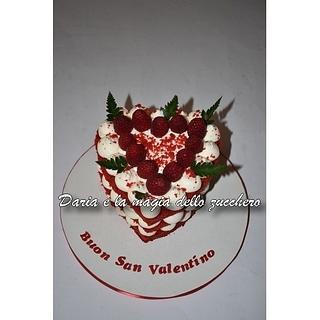 Red Velvet heart cake for Valentine's day