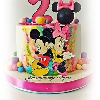 Mickey and Minnie themed cake - Cake by Fondantfantasy