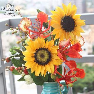 Sugar Sunflower, Gulmohar and foliage - Cake by Ashwini Sarabhai