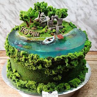 Island in a lake cake
