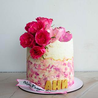 Birthday cake with roses and hearts