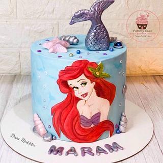 Mermaide hand painting cake